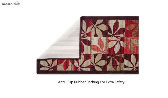 Red Floral Pattern Nylon Floor Mat-2