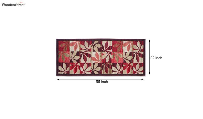 Red Floral Pattern Nylon Floor Mat-3
