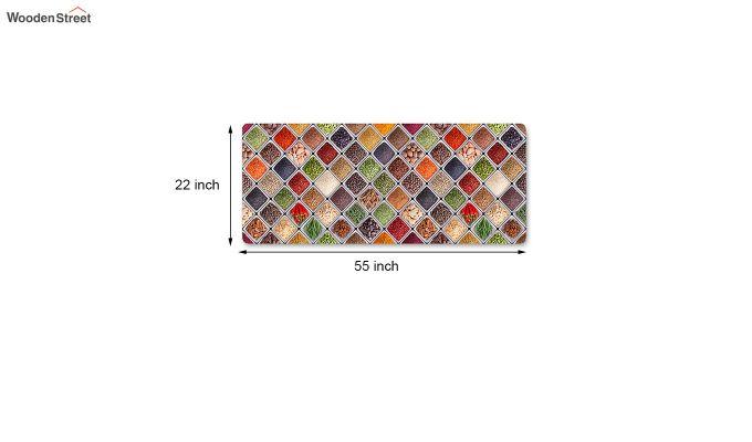 Red Geometric Pattern 3D Printed Nylon Bed Side Runner-5