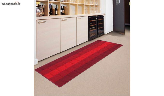 Red Geometric Pattern Nylon Bed Side Runner-1