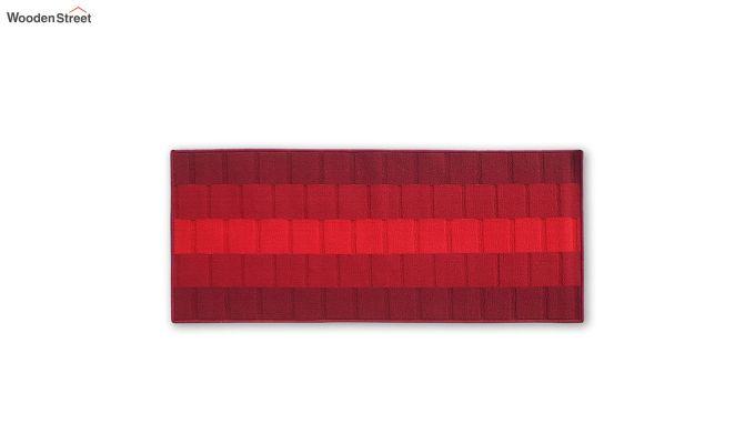 Red Geometric Pattern Nylon Bed Side Runner-2