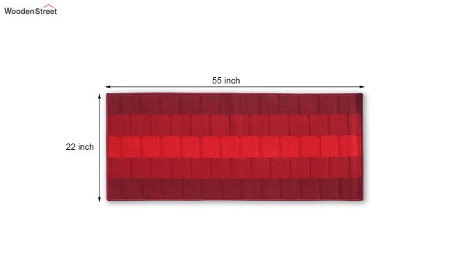 Red Geometric Pattern Nylon Bed Side Runner-3