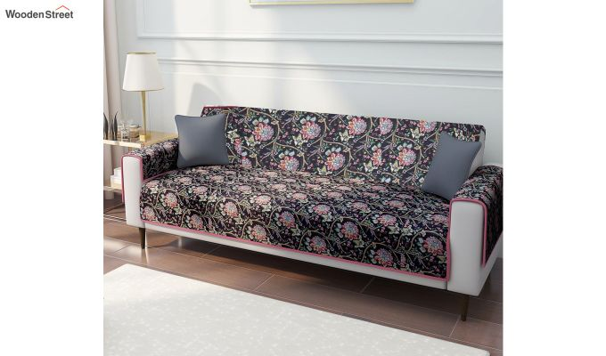 Black Quilted Floral Print Cotton 3 Seater Sofa Cover-1