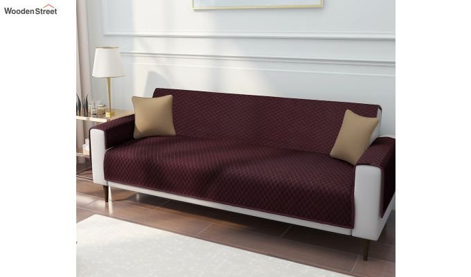 Maroon Quilted Cotton 3 Seater Sofa Cover-1