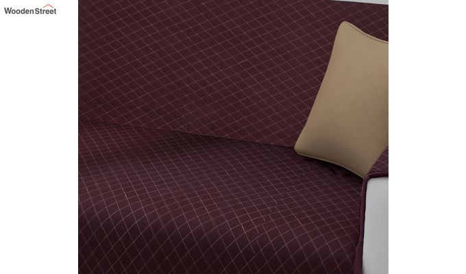 Maroon Quilted Cotton 3 Seater Sofa Cover-2