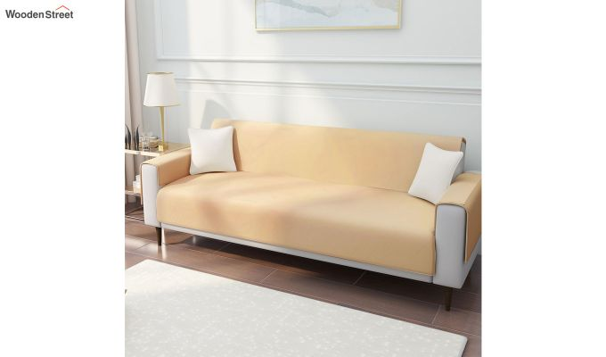Gold Quilted Cotton 3 Seater Sofa Cover-1