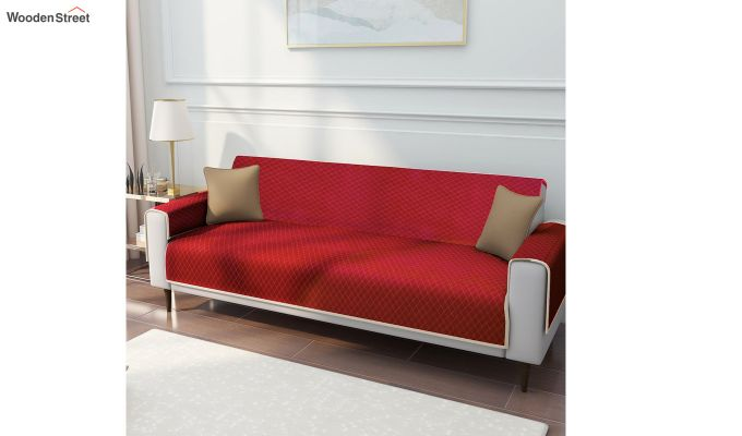 Red Quilted Cotton 3 Seater Sofa Cover-1