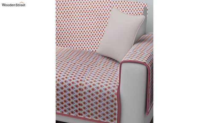 Pink Quilted Cotton 3 Seater Sofa Cover-2
