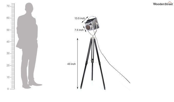 Retro Black Tripod Lamp by Grated Ginger-6