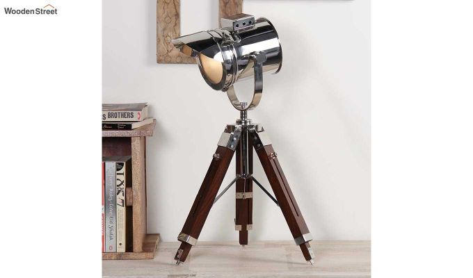 Shaded Nickel Tripod Lamp by Grated Ginger-1