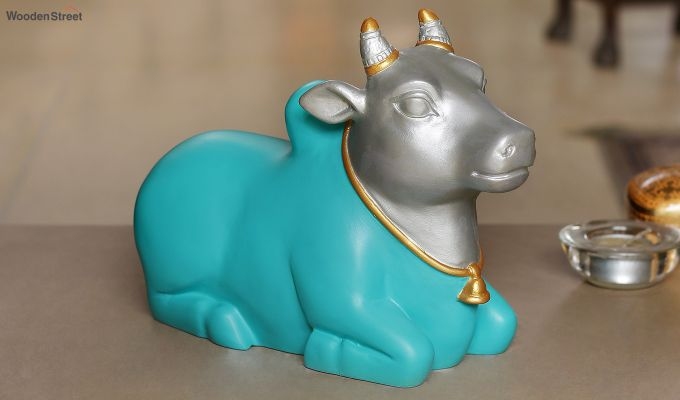 Blue Nandi Resin Figurine-1