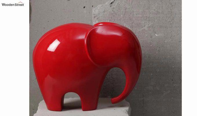 Red Elephant Resin Figurine-2