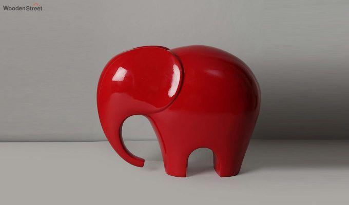Red Elephant Resin Figurine-3
