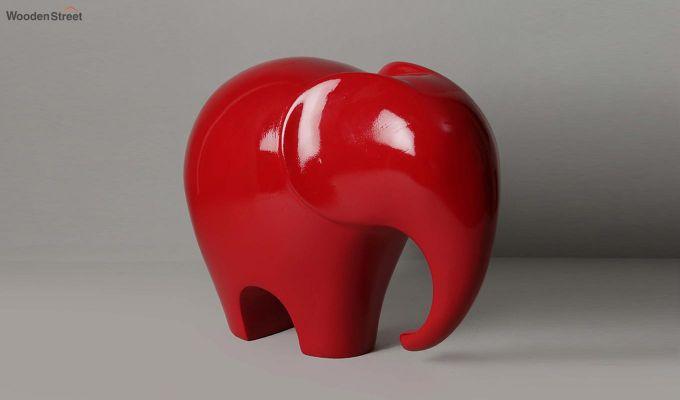 Red Elephant Resin Figurine-4