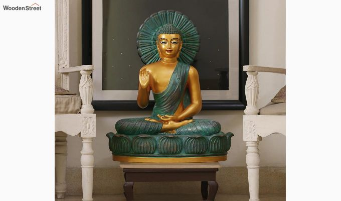 Teal Buddha Resin Figurine-1
