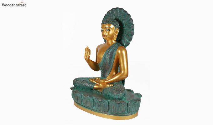 Teal Buddha Resin Figurine-3