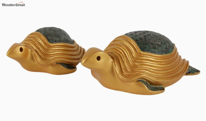 Two Turtles Gold Resin Figurine-2
