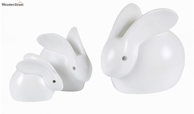 Three White Resin Bunny Figurine-2