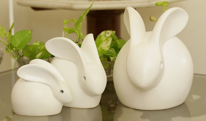 Three White Resin Bunny Figurine-1