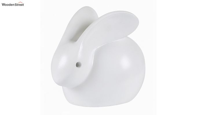 Three White Resin Bunny Figurine-4