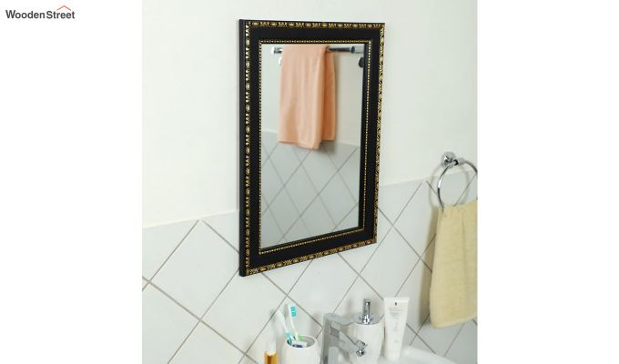 Black Fibre Frame Wall Hanging Bathroom Mirror-1