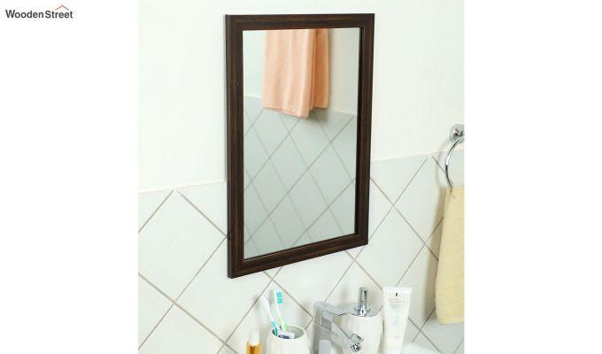 Fibre Frame Brown Wall Hanging Bathroom Mirror-1