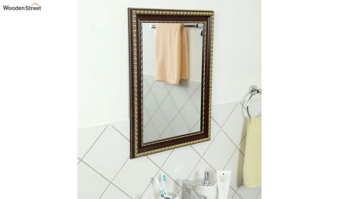 Fibre Frame Wall Hanging Maroon Bathroom Mirror-1