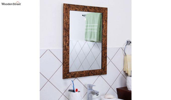 Wooden Fibre Frame Brown Bathroom Mirror-1