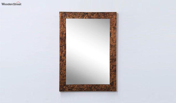 Wooden Fibre Frame Brown Bathroom Mirror-2
