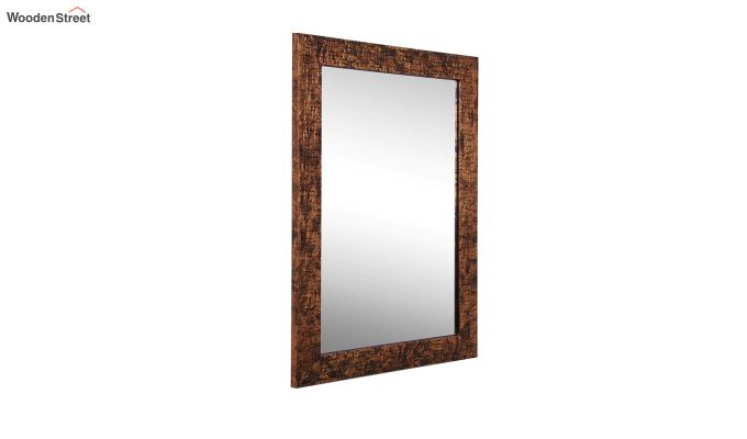 Wooden Fibre Frame Brown Bathroom Mirror-3