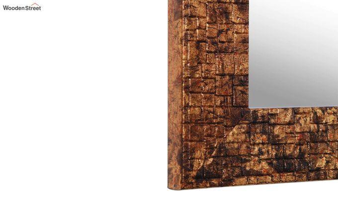 Wooden Fibre Frame Brown Bathroom Mirror-5
