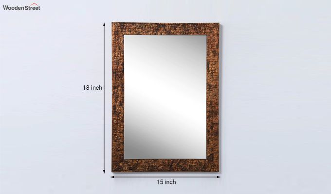 Wooden Fibre Frame Brown Bathroom Mirror-6
