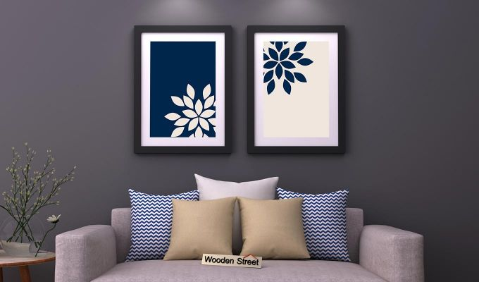 Blue Wood Framed Wall Art 2 (Set of 2)-1