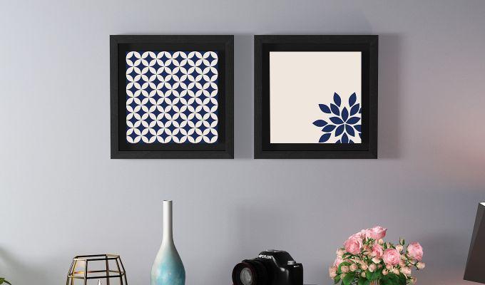 Blue Wood Floater Framed Wall Art 1 (Set Of 2) (Black Finish)-1