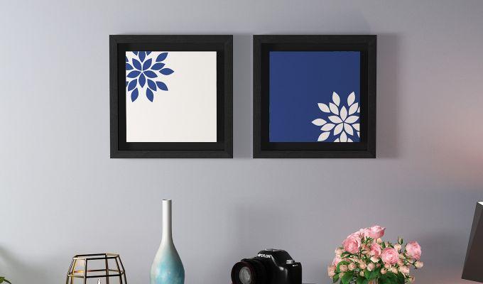 Blue Wood Floater Framed Wall Art 2 (Set Of 2) (Black Finish)-1