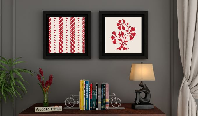Crimson Fern Floater Framed Wall Art (Set of 2) (Black Finish)-1