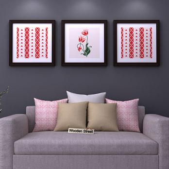 Crimson Fern Square Framed Wall Art (Set of 3)