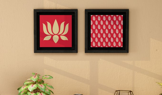 Lotus Stalks Floater Framed Wall Art (Set of 2) (Black Finish)-1