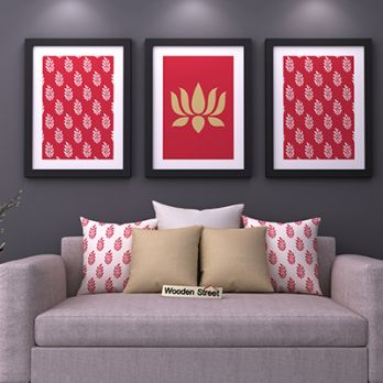 Lotus Stalks Framed Wall Art (Set of 3)