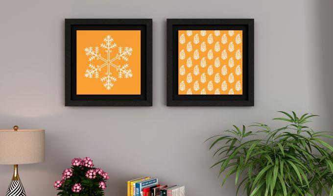 Orange Snow Flake Floater Framed Wall Art (Black Finish)-1