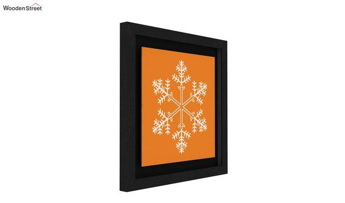 Orange Snow Flake Floater Framed Wall Art (Black Finish)-3