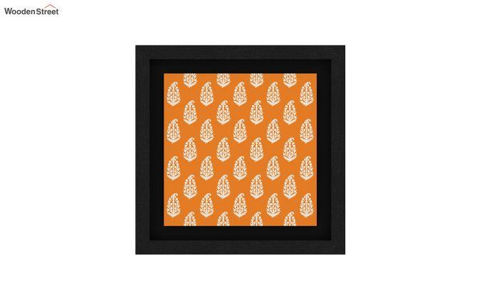 Orange Snow Flake Floater Framed Wall Art (Black Finish)-4