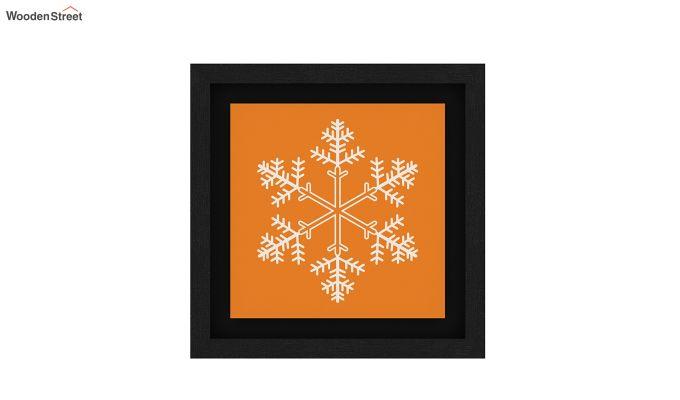 Orange Snow Flake Floater Framed Wall Art (Black Finish)-5