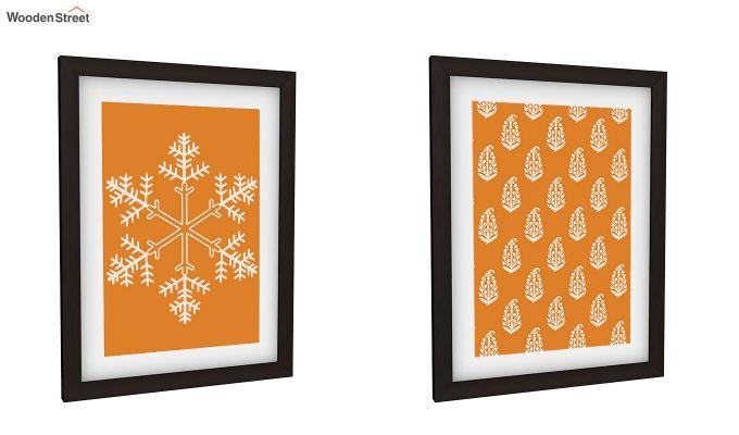 Orange Snow Flake Framed Wall (Set of 2)-2