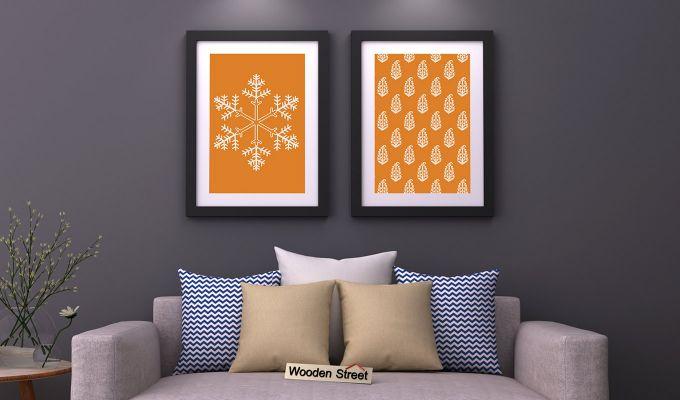 Orange Snow Flake Framed Wall (Set of 2)-1