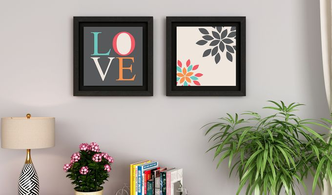 Peach Valentine Floater Framed Wall Art 1 (Set of 2) (Black Finish)-1