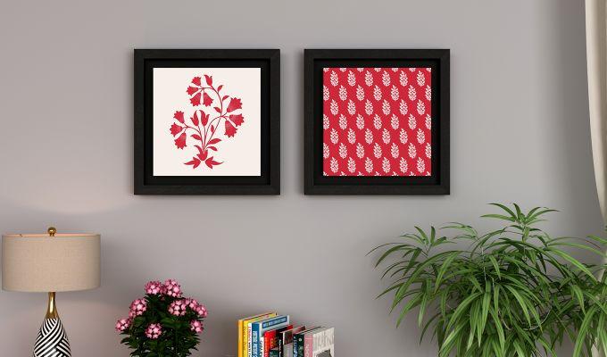 Scarlet Vibes Floater Framed Wall Art (Black Finish)-1