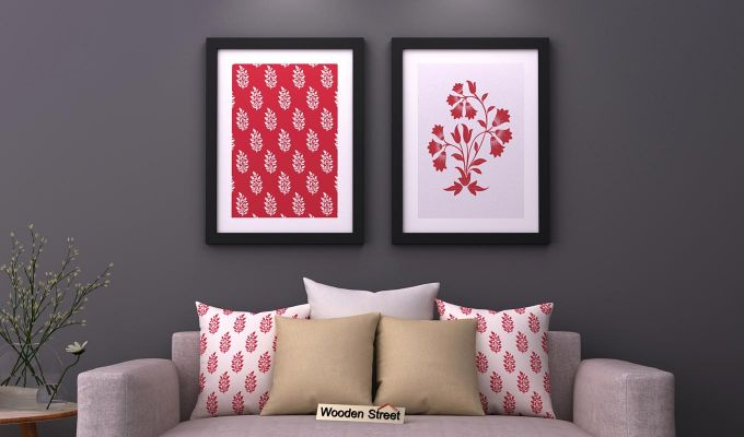 Scarlet Vibes Framed Wall Art (Set of 2)-1