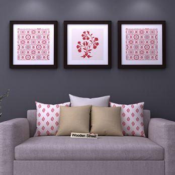 Scarlet Vibes Square Framed Wall Art (Set of 3)