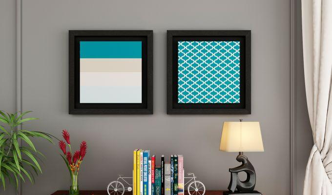 Sugar Pastel Floater Framed Wall Art 1 (Set of 2) (Black Finish)-1